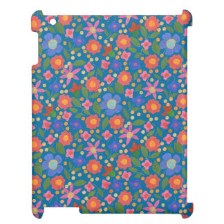 Chic Folk Art Style Floral, Blue iPad Savvy Case Cover For The iPad