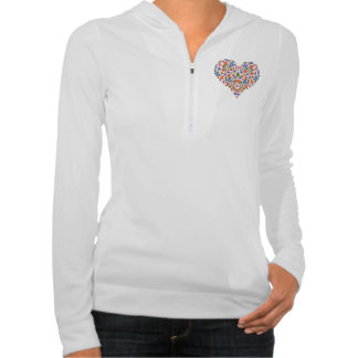 Chic Folk Art Style Floral Heart Ladies Zip Hoodie