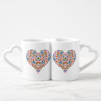 Chic Folk Art Style Floral Heart Lovers Mugs