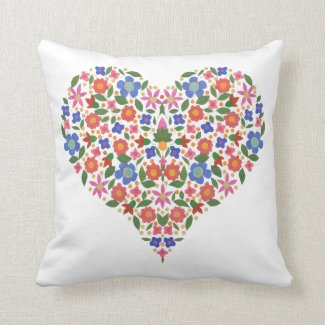 Chic Folk Art Style Floral Heart Pillow or Cushion