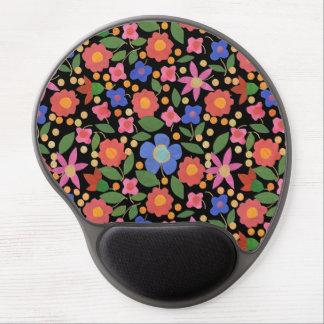 Chic Folk Art Style Floral on Black Gel Mousepad
