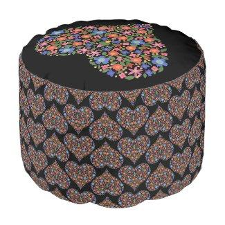 Chic Folk Art Style Floral on Black Round Pouf