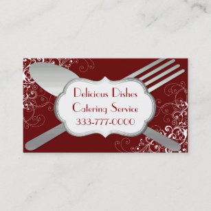 Food service business cards zazzle chic fork spoon food service business card colourmoves