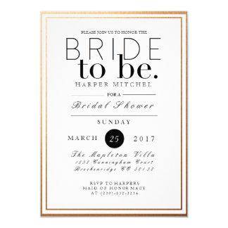 Chic & Formal Bridal Shower | Gold Foil Invite