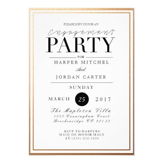 chic formal engagement party gold foil invite zazzle com