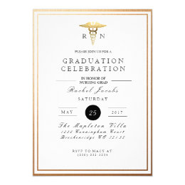 Formal graduation invitations announcements zazzle chic formal nursing graduate gold foil invite stopboris Images
