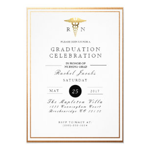 Formal 5x7 graduation invitations zazzle chic formal nursing graduate gold foil invite stopboris Images