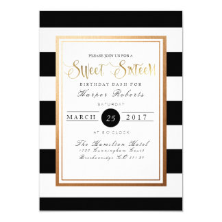 Chic & Formal Sweet Sixteen | Gold & Black Card