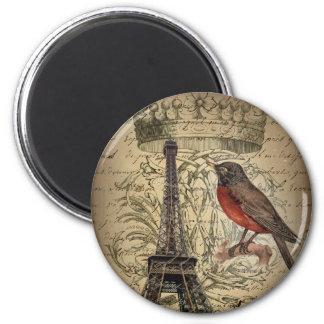 Chic French Bird Modern Vintage Paris Eiffel tower Magnet