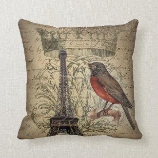 Chic French Bird Modern Vintage Paris Eiffel tower Throw Pillow