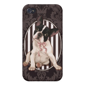 Chic french bulldog and black damask iPhone 4/4S case