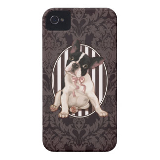 Chic french bulldog and black damask iPhone 4 cover