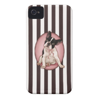 Chic french bulldog and classic stripes iPhone 4 Case-Mate case