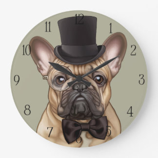 Chic French Bulldog Large Clock