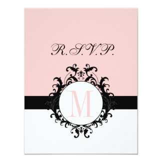 Chic French Damask Monogram Wedding RSVP Card