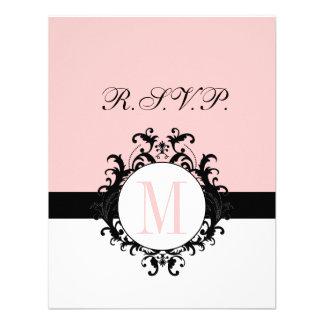 Chic French Damask Monogram Wedding RSVP Card Invites