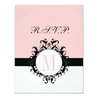 Chic French Damask Monogram Wedding RSVP Card Custom Announcement