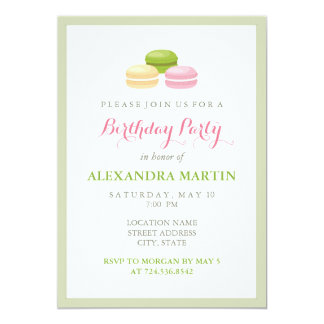 Chic French Macaron Birthday Party Card
