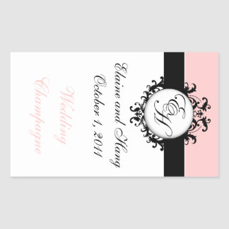 Chic French Monograms Damask Champagne Labels