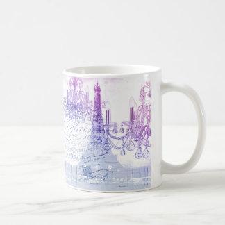 chic french purple chandelier paris eiffel tower coffee mug