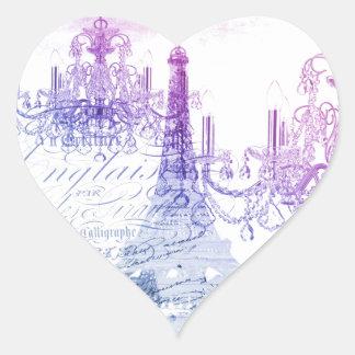 chic french purple chandelier paris eiffel tower heart sticker