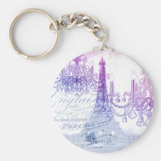 chic french purple chandelier paris eiffel tower keychain