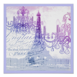 chic french purple chandelier paris eiffel tower poster