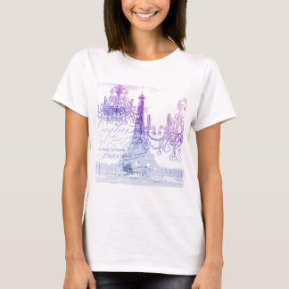 chic french purple chandelier paris eiffel tower T-Shirt