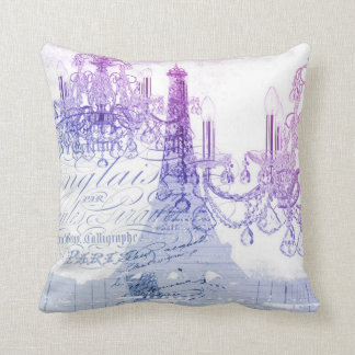 chic french purple chandelier paris eiffel tower throw pillow