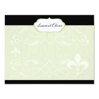 Chic French Romance Note Card in Greens Custom Invitation