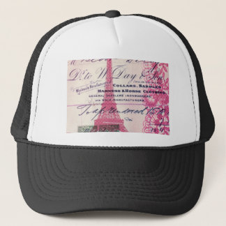 chic french scripts lace pink paris eiffel tower trucker hat