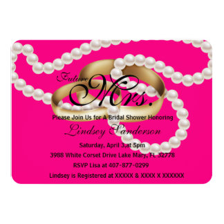 Chic Fuchsia Pink Rings With Pearls Bridal Invite