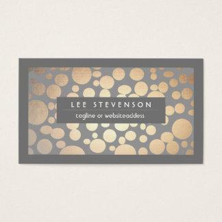 Chic Fun Gold Circles Gray Trendy Designer Business Card