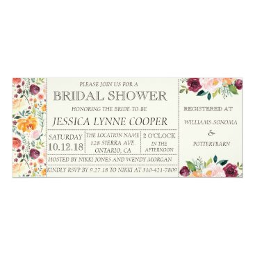Beach Themed Chic Garden Party Floral Bridal Shower Invitation