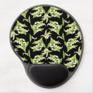 Chic Gel Mousepad: Lilies of the Valley, Black