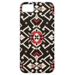 Chic geometric black red ikat tribal pattern iPhone 5 cases
