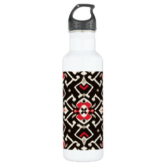 Chic geometric black red ikat tribal pattern stainless steel water bottle