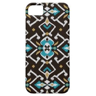Chic geometric black teal ikat tribal pattern iPhone SE/5/5s case
