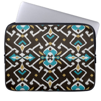 Chic geometric black teal ikat tribal pattern laptop sleeve
