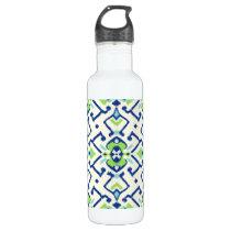 Chic geometric green blue ikat tribal pattern water bottle