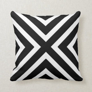 Chic Geometric Stripes in Black and White Throw Pillow