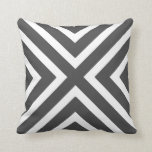 Chic Geometric Stripes in Charcoal Grey and White Pillow