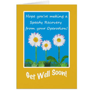 Chic Get Well Card, Operation or Surgery, Daisies