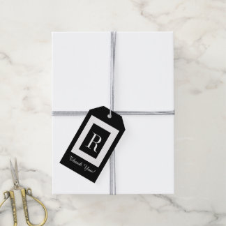"""CHIC GIFT TAG_""""Thank You!"""" MODERN BLACK & WHITE Gift Tags"""