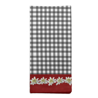 Chic Gingham and Edelweiss Cotton Napkin