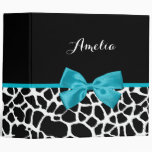 Chic Giraffe Print Aqua Blue Ribbon Bow With Name 3 Ring Binders