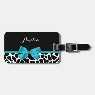 Chic Giraffe Print Aqua Blue Ribbon Bow With Name Bag Tag