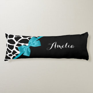 Chic Giraffe Print Aqua Blue Ribbon Bow With Name Body Pillow