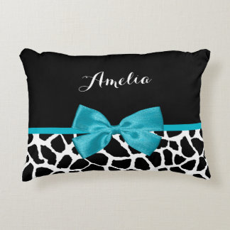 Chic Giraffe Print Aqua Blue Ribbon Bow With Name Decorative Pillow