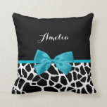 Chic Giraffe Print Aqua Blue Ribbon Bow With Name Pillow